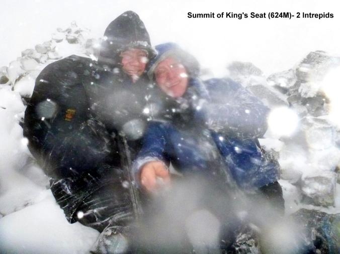 Blizzard conditions at summit of King's Seat