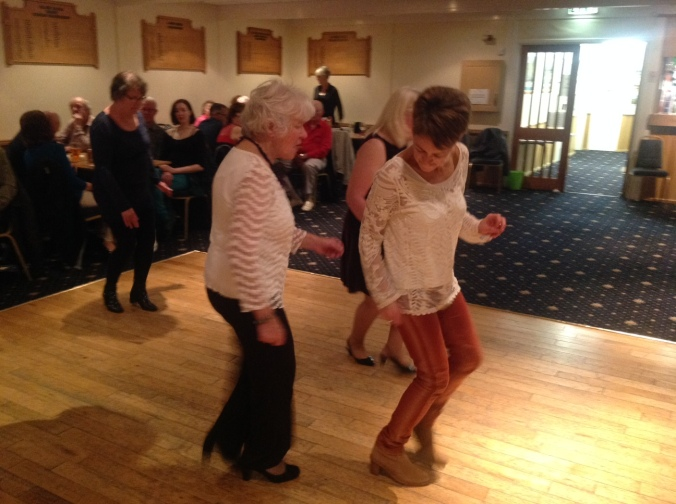 Margaret shows daughter Aileen the Line Dancers Shuffle